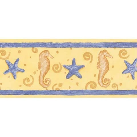 Yellow Seahorse and Starfish Wallpaper Border