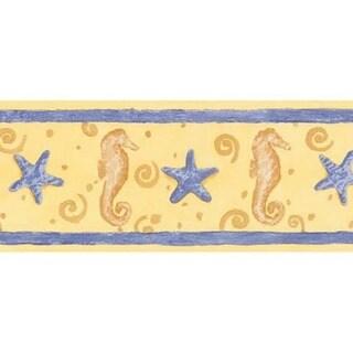 Yellow Seahorse and Starfish Wallpaper Border
