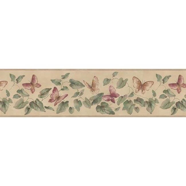 Brewster Rose Butterfly Vine Wallpaper Border, Beige