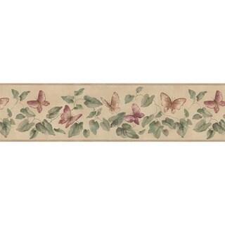 Rose Butterfly Vine Wallpaper Border