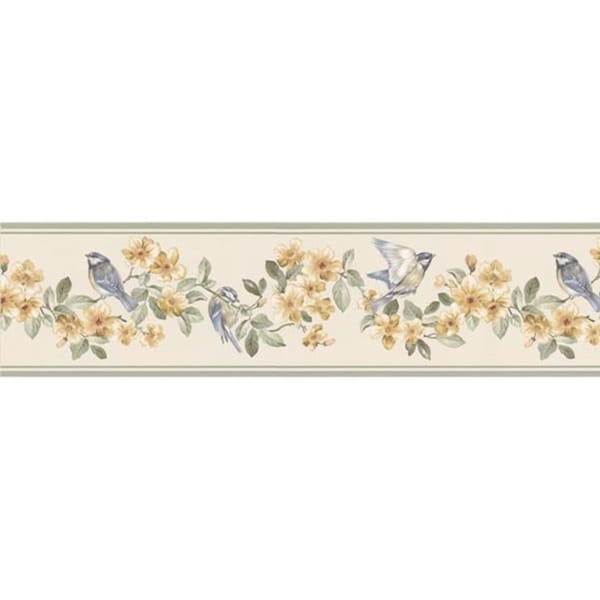Green Bird and Floral Wallpaper Border  17646156  Overstock.com