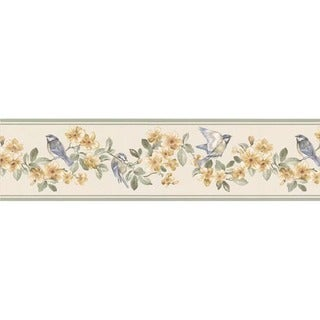 Green Bird and Floral Wallpaper Border