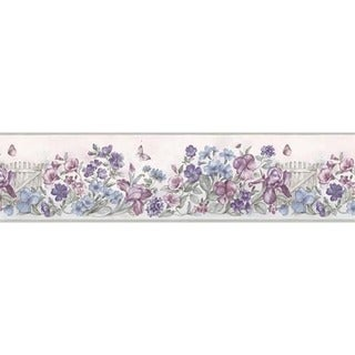 Lavender Picket Fence Wallpaper Border