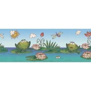 Teal Frog & Lily Pad Wallpaper Border