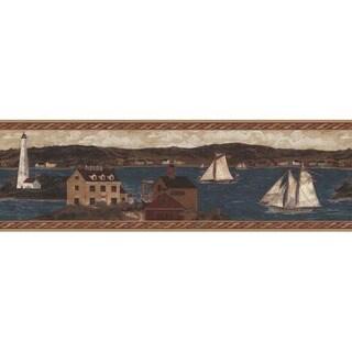Red Coastal Scene Wallpaper Border