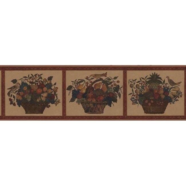 Brewster Red Fruit Basket Wallpaper Border