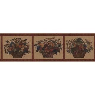 Red Fruit Basket Wallpaper Border