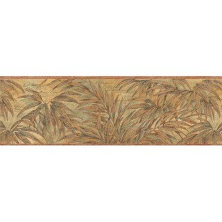 Olive Tropical Foliage Wallpaper Border