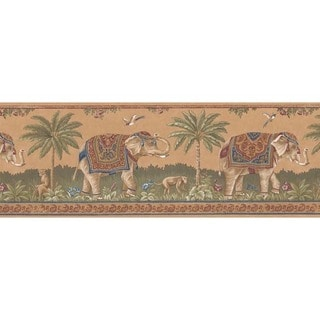 Chestnut Elephant Wallpaper Border