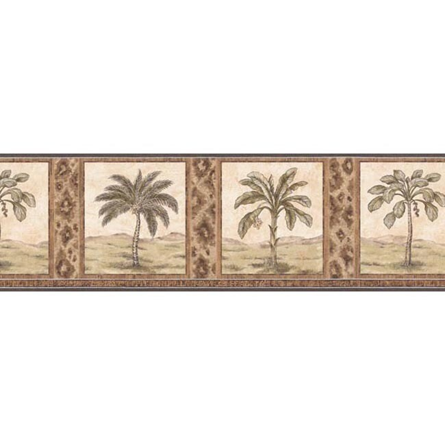 Brown Palm Tree Wallpaper Border