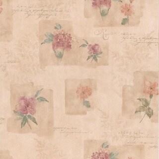 Pink Block Print Floral Wallpaper