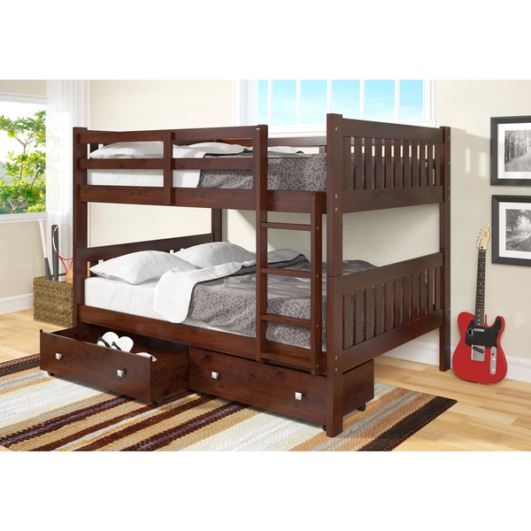 donco kids full over full mission bunk bed with storage drawers free shipping today. Black Bedroom Furniture Sets. Home Design Ideas