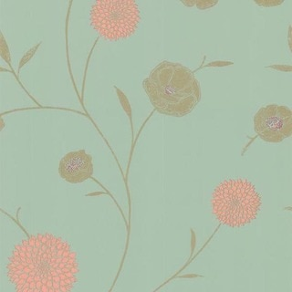 Mint Floral Trail Wallpaper