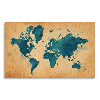 Gallery Direct Map of The World with a Textured Background and Watercolor Spots Print On Birchwood Wall Art