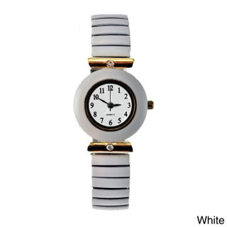 Women's Stretch Band Watch with Round Faux Marble Bezel, Crystal Accents, and Easy Read Dial