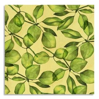 Gallery Direct Pear Foliage Print on Birchwood Wall Art