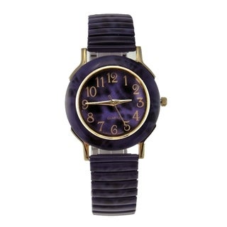 Women's Purple Stretch Band Watch Faux Marble Case and Dial Goldtone Arabic Numberals