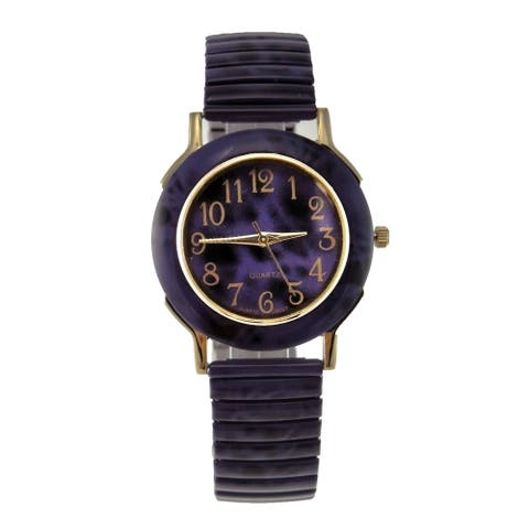 Women's Purple Stretch Band Watch with Faux Marble Case and Dial Goldtone Easy Read Numbers