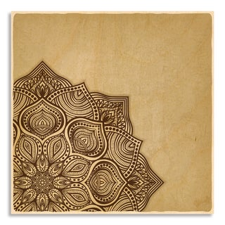 Gallery Direct Floral Brown Round Ornament' Print On Birchwood Wall Art