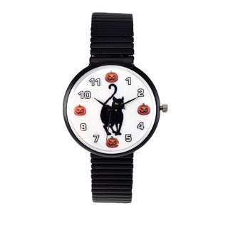 Women's Halloween Watch Black Cat and Pumpkin Dial Black Stretch Band