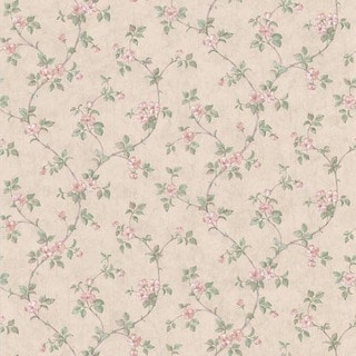 Beige Distressed Stone Floral Trail Wallpaper
