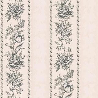 Black Floral Stripe Wallpaper