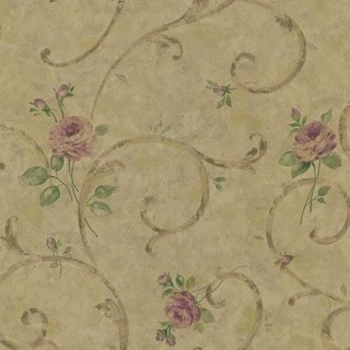 Bronze Floral Scroll Wallpaper