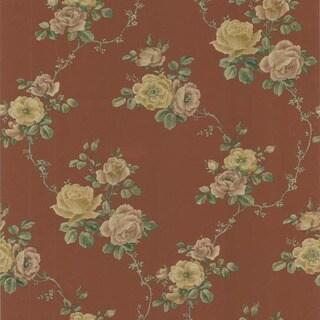 Red Floral Garden Scroll Design Wallpaper