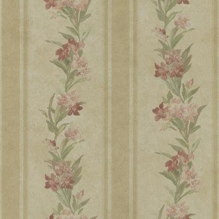 Brass Floral Stripe Wallpaper