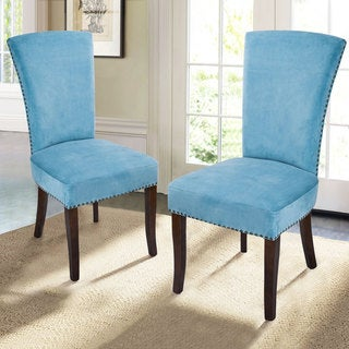 Adeco Velvet Upholstered Birch Leg Dining Chairs (Set of 2)