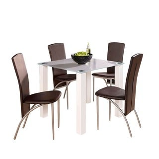 Scandinavian Lifestyle Norma Glass and High Gloss Small Dining Table