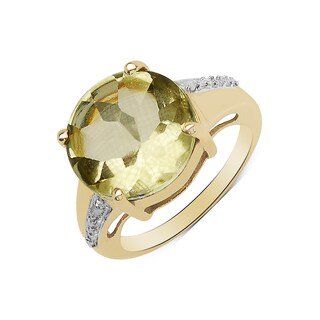 Olivia Leone 14k Yellow Goldplated 9 1/4ct Lemon Topaz and Diamond Accent Ring