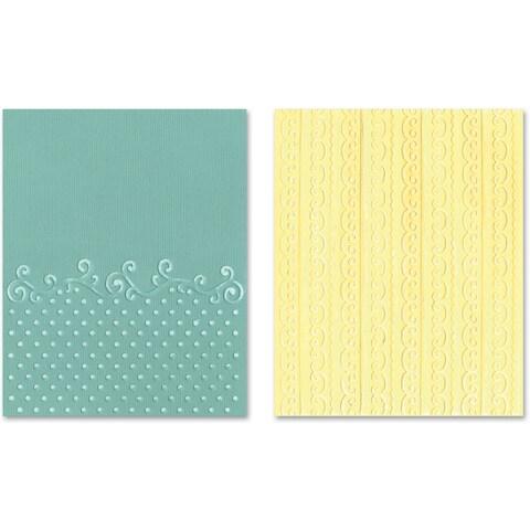 Sizzix Textured Impressions A2 Embossing Folders 2/PkgFlourish/Dots & Ribbon Set