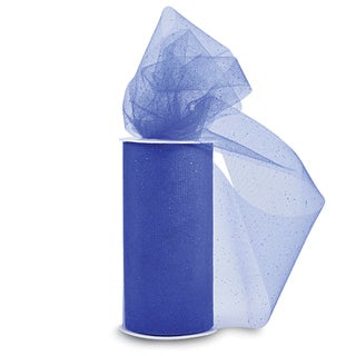 Glitter Tulle 6inX25yd SpoolRoyal Blue W/Blue Glitter