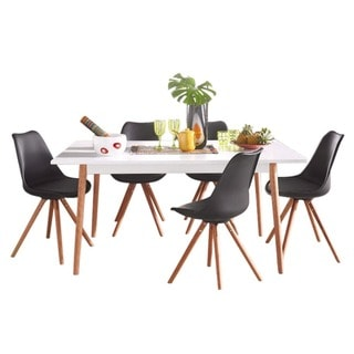 Scandinavian Lifestyle Texas White Finish Solid Oak Leg Dining Table