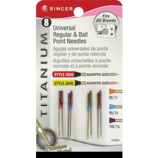 Titanium Universal Regular & Ball Point Machine NeedlesSizes 11/80 (2), 14/90 (4) & 16/100 (2)