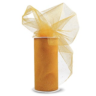 Glitter Tulle 6inX25yd SpoolYellow W/Gold Glitter