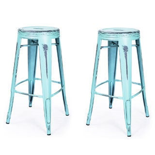 French Bistro Glossy Powder Coated Metal Bar Stools with ModHaus Living Pen (Set of 2)