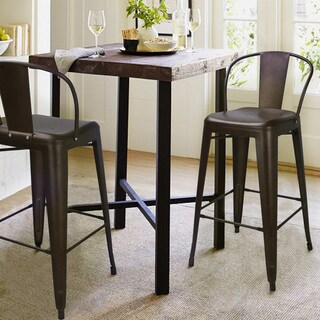 Adeco Vintage Metal Bar Stool (Set of 2)