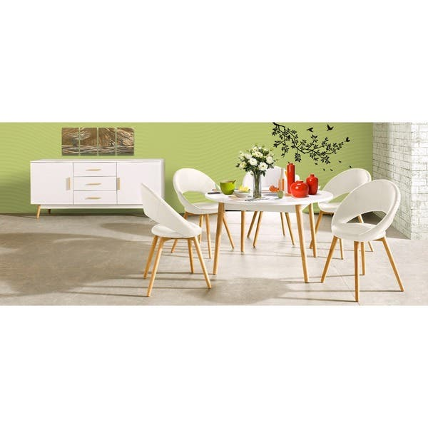 Scandinavian Lifestyle Texas White Finish Solid Oak Leg Style Dining Table Overstock 10569524