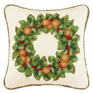 Orange Wreath Needlepoint 16 Inch Throw Pillow