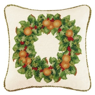Orange Wreath Needlepoint 16 Inch Throw Pillow