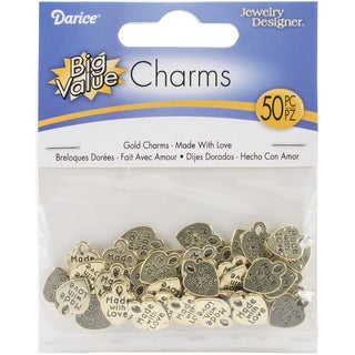 Metal Charms 50/PkgGold Made With Love