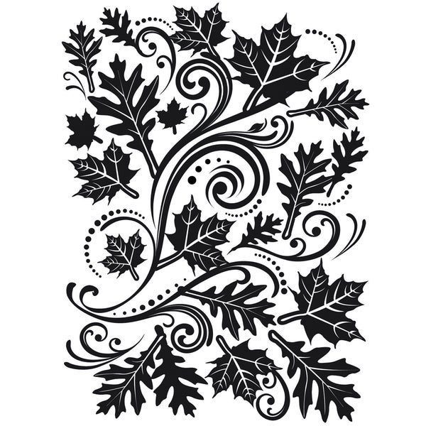 Embossing Folder 4.25inX5.75inFall Leaf Background