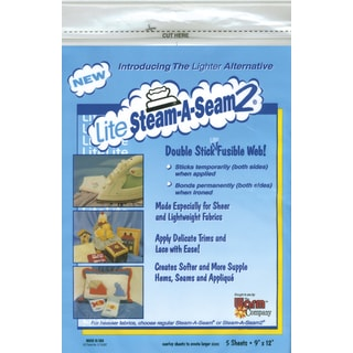 Lite SteamASeam 2 Double Stick Fusible Web9inX12in Sheets 5/Pkg