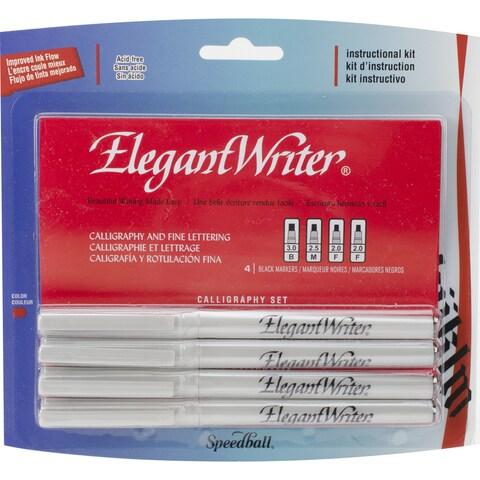 Speedball Elegant Writer Calligraphy Markers 4/PkgBlack 2 Fine, 1 Medium & 1 Broad Point
