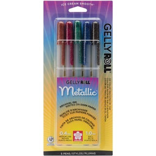Gelly Roll Metallic Medium Point Pens 5/PkgSepia, Burgundy, Hunter, Blue & Black