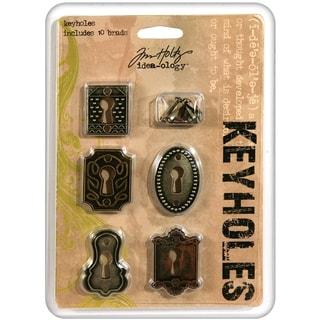 Tim Holtz Idea-Ology Keyholes W/Brads .75inX1in To 1inX1.5in 5/PkgAntique Nickel, Brass & Copper