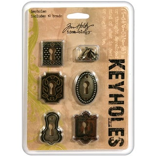 Tim Holtz Idea-Ology Keyholes W/Brads .75inX1in To 1inX1.5in 5/PkgAntique Nickel, Brass & Copper