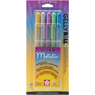 Gelly Roll Metallic Medium Point Pens 5/PkgGold, Silver, Blue, Emerald & Purple